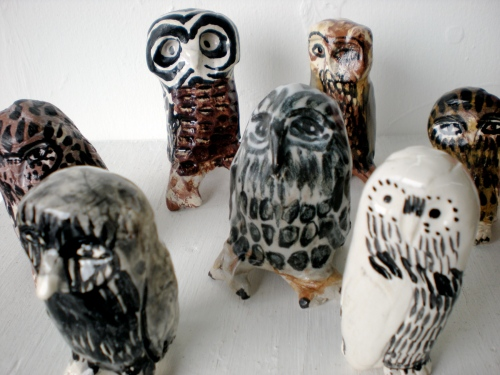 Ceramic Owls by Seattle artist Aaron Murray